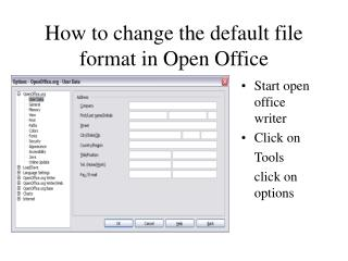 How to change the default file format in Open Office