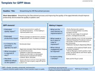 Template for QIPP Ideas
