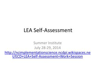 LEA Self-Assessment