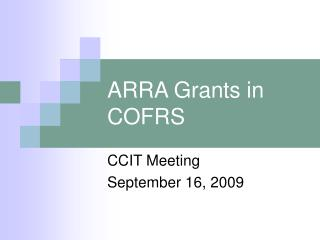 ARRA Grants in COFRS