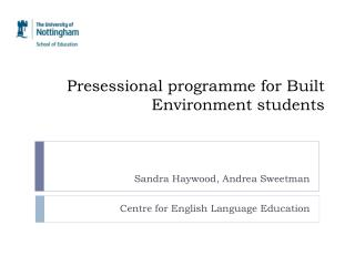 Presessional programme for Built Environment students