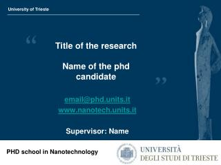 Title of the research Name of the phd candidate