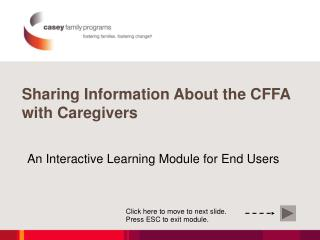 Sharing Information About the CFFA with Caregivers