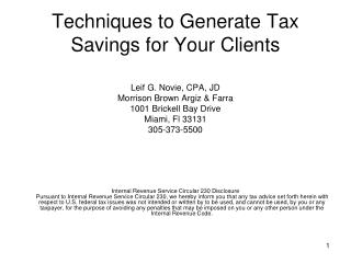Techniques to Generate Tax Savings for Your Clients