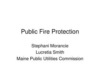Public Fire Protection