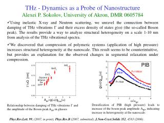 THz - Dynamics as a Probe of Nanostructure Alexei P. Sokolov, University of Akron, DMR 0605784