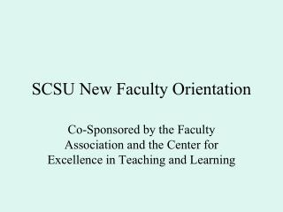 SCSU New Faculty Orientation