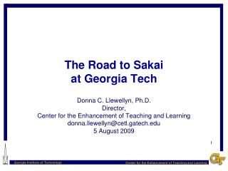 The Road to Sakai at Georgia Tech
