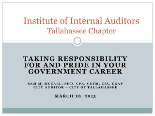 Institute of Internal Auditors Tallahassee Chapter