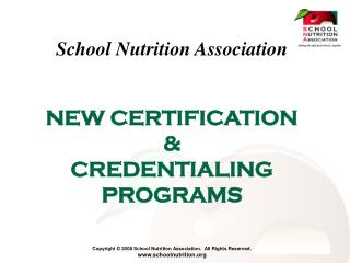 NEW CERTIFICATION  &  CREDENTIALING PROGRAMS