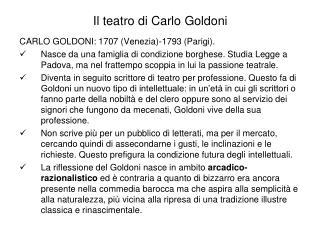 Il  teatro di  Carlo Goldoni