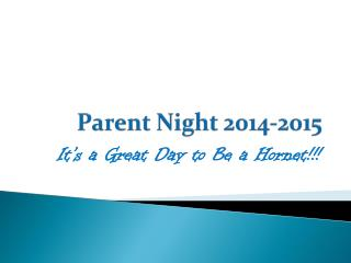 Parent Night 2014-2015