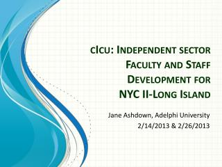 cIcu : Independent sector Faculty and Staff Development for  NYC II-Long Island