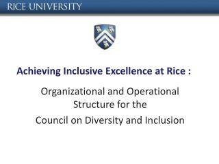Achieving Inclusive Excellence at Rice :
