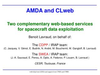 AMDA and CLweb Two complementary web-based services   for spacecraft data exploitation