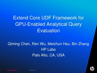 Extend Core UDF Framework for  GPU-Enabled Analytical Query Evaluation