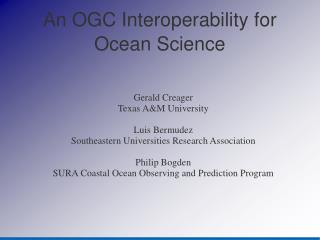 An OGC Interoperability for Ocean Science