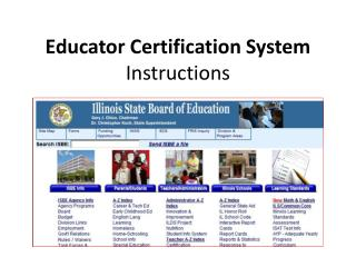 Educator Certification System  Instructions
