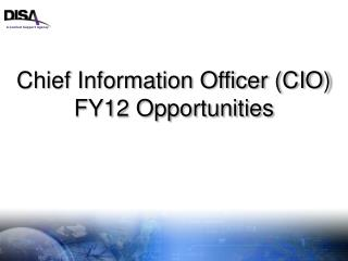 Chief Information Officer (CIO) FY12 Opportunities