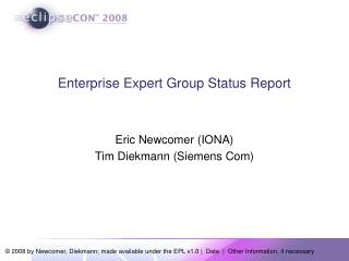 Enterprise Expert Group Status Report