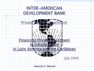 INTER-AMERICAN  DEVELOPMENT BANK Private Sector Department Financing Private Investment