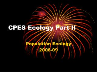 CPES Ecology Part II