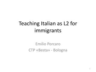 Teaching Italian as L2 for immigrants