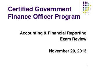 Certified Government  Finance Officer Program