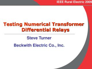 IEEE Rural Electric 2009