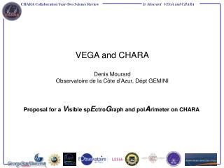 VEGA and CHARA Denis Mourard Observatoire de la Côte d'Azur, Dépt GEMINI