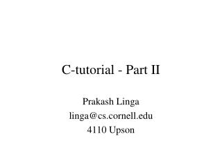 C-tutorial - Part II