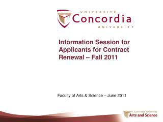 Information Session for Applicants for Contract Renewal – Fall 2011