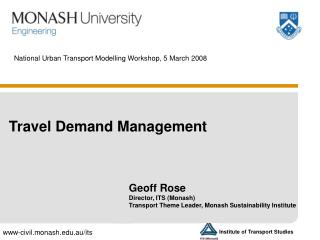 National Urban Transport Modelling Workshop, 5 March 2008