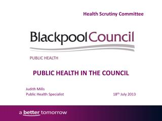 PUBLIC HEALTH IN THE COUNCIL Judith Mills