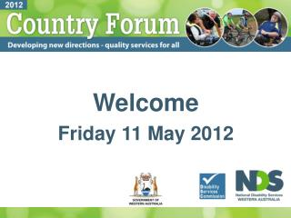 Welcome Friday 11 May 2012