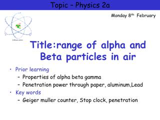Title:range of alpha and Beta particles in air