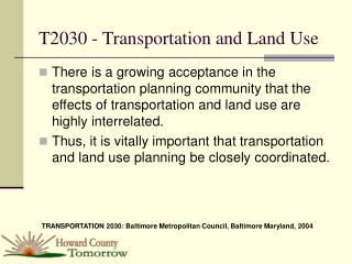 T2030 - Transportation and Land Use