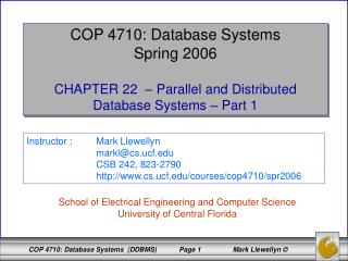 COP 4710: Database Systems Spring 2006