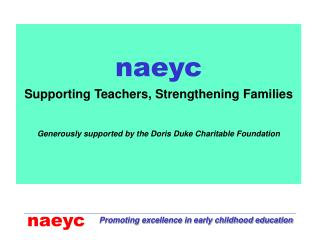 naeyc Supporting Teachers, Strengthening Families