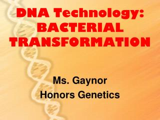 DNA Technology:  BACTERIAL TRANSFORMATION