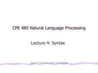 CPE 480 Natural Language Processing