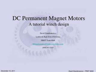 DC Permanent Magnet Motors A tutorial winch design