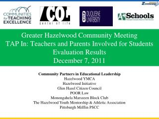 Community Partners in Educational Leadership Hazelwood YMCA  Hazelwood Initiative