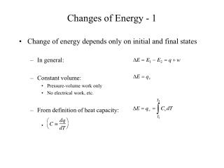 Changes of Energy - 1