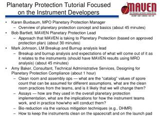 Planetary Protection Tutorial Focused on the Instrument Developers