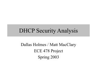 DHCP Security Analysis