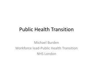 Public Health Transition