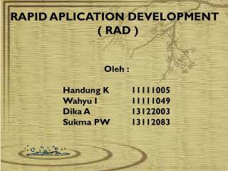 RAPID APLICATION  DEVELOPMENT  ( RAD )
