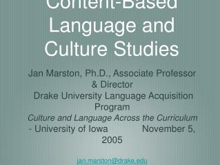 Content-Based Language and Culture Studies