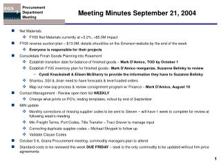 Meeting Minutes September 21, 2004